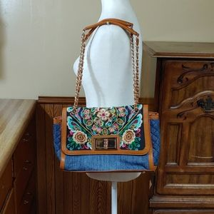 Sharif NWOT Floral Embroidery Jean & Leather Bag